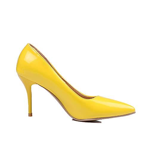 Tacco FBUIDD005924 Alto Luccichio Puro Flats AllhqFashion Tirare Giallo Donna Ballet TwpqnZB