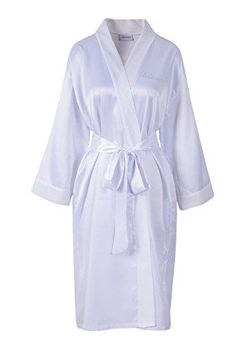 raso strass e Vestaglia a con kimono White vestibilità White damigella Varsany per personalizzabile pile sposa scritta d'onore in di q7nYBRx