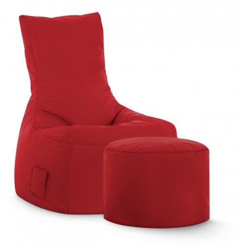 Magma-Heimtex - Set di pouf e sgabello Scuba Swing, per esterno, colore: Rosso