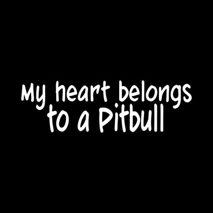MY HEART BELONGS TO A PITBULL Sticker Vinyl Decal Dog Breed Pit Rescue love cute