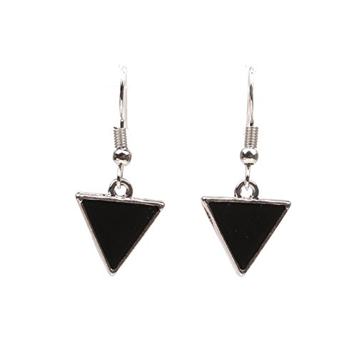 (Sterling Silver Plated Vintage Black Onyx Agate Triangle Charm Drop Dangle Earrings)