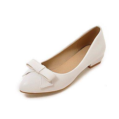 Cómodo y elegante soporte de zapatos de las mujeres pisos primavera verano otoño invierno otros sintética oficina y carrera vestido informal lazo blanco y negro de almendra Almond