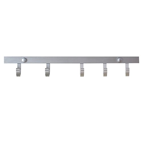 Creatwo Bathroom Hook Rails with 5 Sliding Hooks Wall Mount for Towel-16 inch, Silver