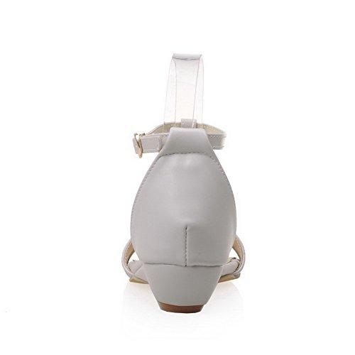 AalarDom Mujer Puntera Abierta Mini Tacón Pu Sólido Hebilla Sandalias de vestir Gris