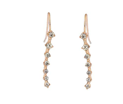 Yuren 7 Crystals Ear Cuffs Vines Climbers Wrap Pierced Pins Hook Earrings CZ Crystal (Gold)