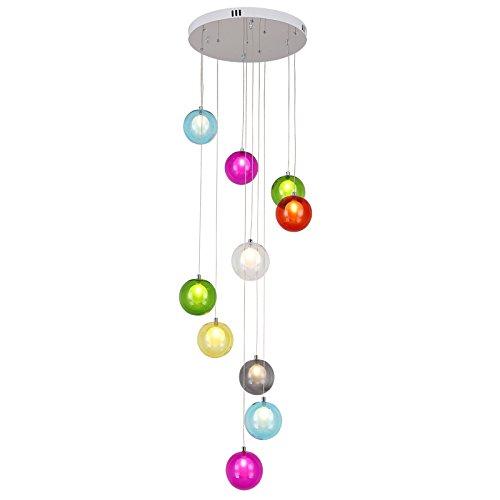 HUA BEI 階段シャンデリア近代的なミニマリスト色のガラスボール北欧創造的なリビングルームヴィラ回転階段長いシャンデリア | (色 : マルチカラー まるちから゜) B07K45PVH1 マルチカラー まるちから゜