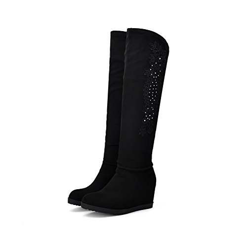 AmoonyFashion Womens High-Heels Solid Round Closed Toe Frosted Pull-On Boots Black g5FRSW9HT