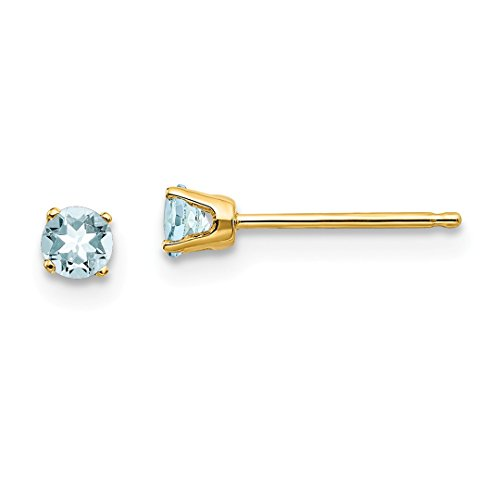 Gem Yellow Aqua Gold 14kt (ICE CARATS 14kt Yellow Gold 3mm March/aquamarine Post Stud Ball Button Earrings Birthstone March Prong Fine Jewelry Ideal Gifts For Women Gift Set From Heart)