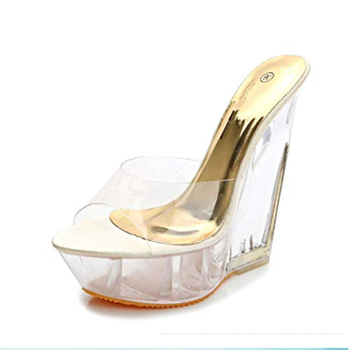 Hoxekle Woman's Clear Wedge Platform High Heel Sandals Lady Sexy Slip On Summer Comfortable Party Shoes Beige