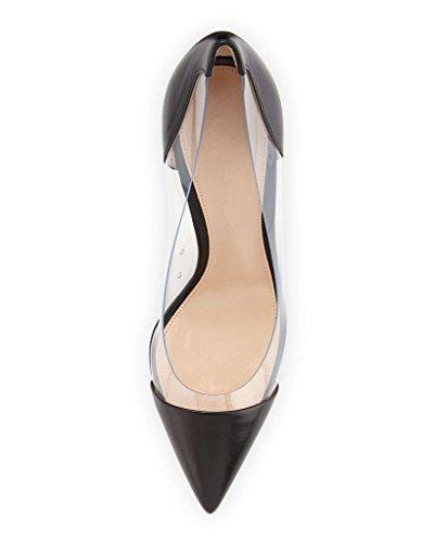 PVC Shoes Transparent Pumps Wedding Cap Dress Black Pumps Stilettos Toe Pointed Womens PVC Event matt High Heel 10cm Eldof xHwnvBaqzn