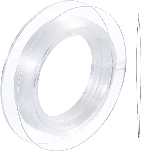 (Tatuo 200 m Clear Nylon Invisible Thread String for Hanging Christmas Ornaments, Bracelet Making, Sew Hobby, Clear Beading Thread with Bead Needle (0.25mm))