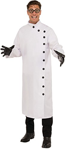 Costumes Mad Scientist (Men's Crazy Mad Scientist Button Up White Lab Coat Costume 2XL)
