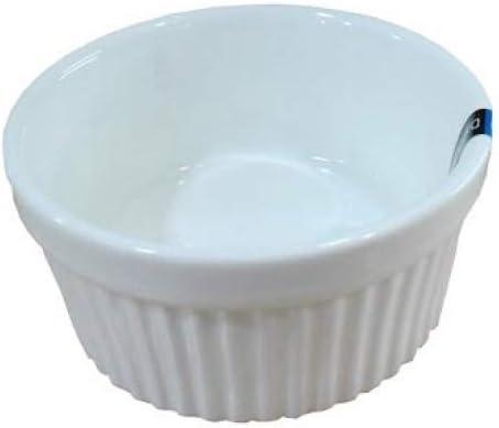 1 Dz White Glazed Fluted Porcelain Ramekins (12 oz 4.5