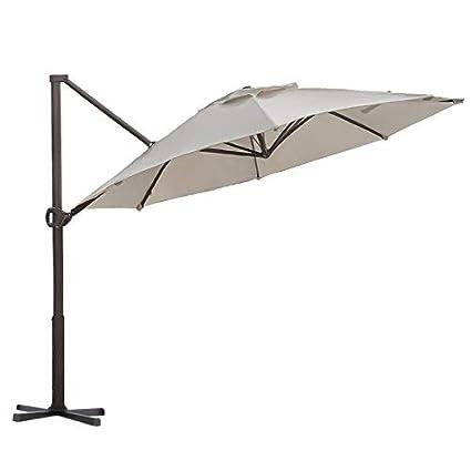 Abba Patio Offset Cantilever Umbrella 11 Feet Outdoor Patio Hanging Umbrella  With Cross Base,