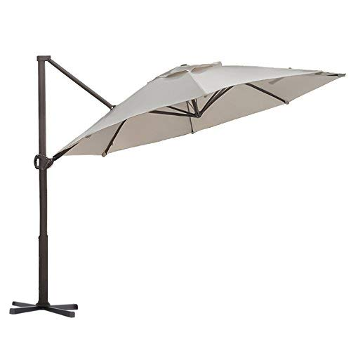 ntilever Umbrella 11-Feet Outdoor Patio Hanging Umbrella with Cross Base, Beige ()