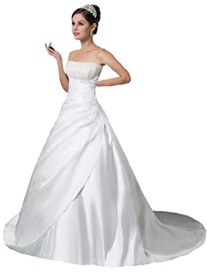 Faironly Crystal Strapless Satin Wedding Dress Bride Gown (Small, White)