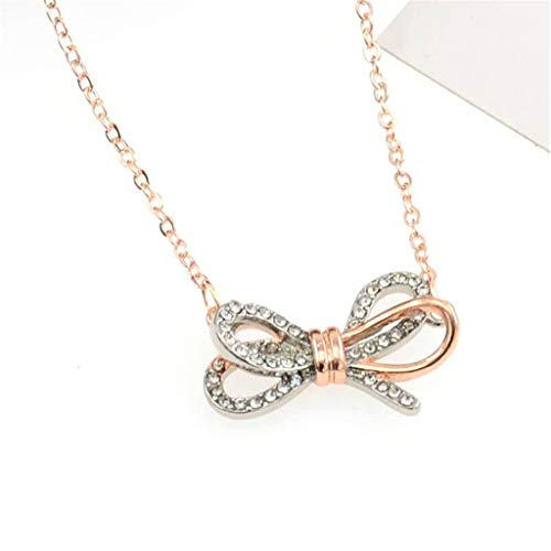 Peigen Bow Ribbon Pendant Pave Clear Pendant Necklace for Women,Temperament Bow Necklace Pendant Female Fashion Wild Clavicle Chain K1163 Series