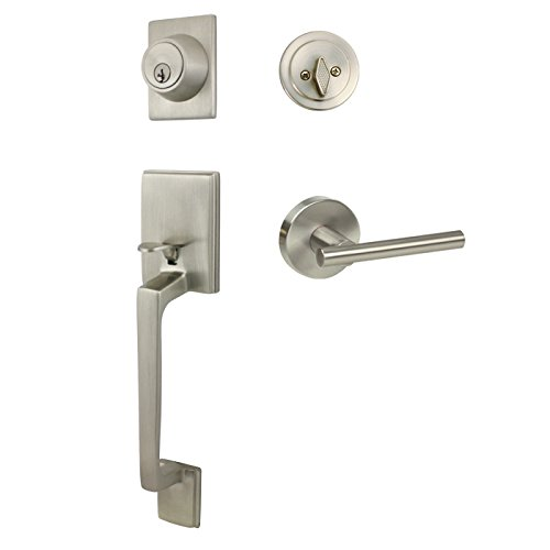 Designers Impressions Churchill Satin Nickel Handleset with Kain Interior Lever (We Key All Lock Orders Alike for Free)