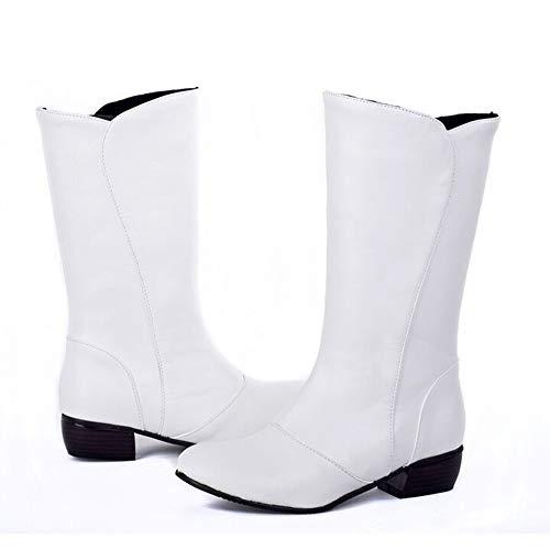 0740228da5284e Soldes Hiver Bottes Mode En Casual Hautes overdose Cuir Blanc Femme Mi Boots  Plates Fashion Rond Bottines Chaussures ...