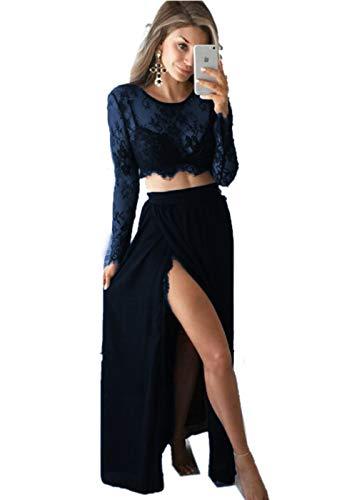 Ad Linea Classico Maniche Vestito Promworld Blu Lunghe Navy A Donna xw6EIBq