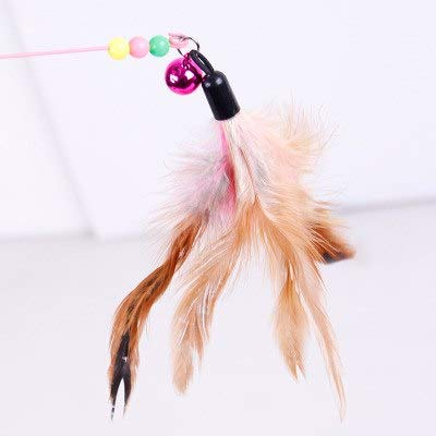 Sticks Krinkle - New Metal Steel Wire Funny Cats Stick Pet Toy with Bell Beads Feather Interactive Toys for Cats Small Dogs Pet Toy Accessories