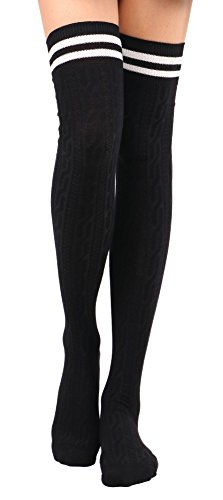 Tube Socks Women's Thigh High Cable Knit Striped Winter (Wide Stripe Leg Warmers)