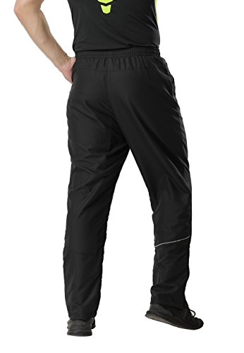 MIER Men's Athletic Exercise Pants Workout Pants with Elastic Waist, Zip Bottom, Black