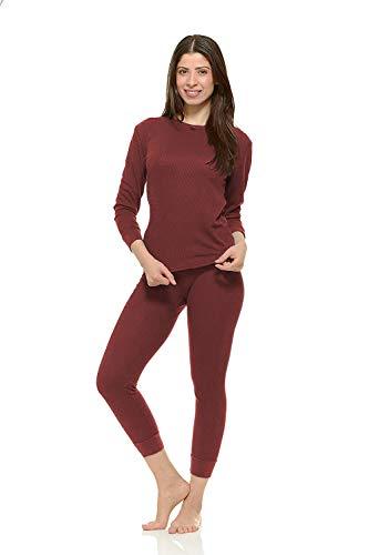 (Women's Soft 100% Cotton Waffle Thermal Underwear Long Johns Sets (Wine, Large))
