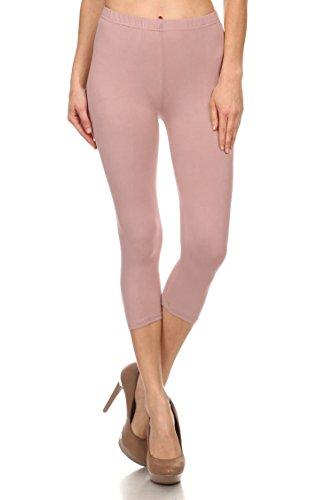 Leggings Mania Women's Solid Colored Capri Leggings Plus Size 3X-5X Mauve