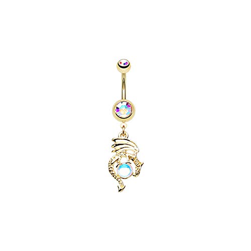 Pierced Owl Aurora Borealis CZ Crystal Ball Dragon Dangle Belly Button Navel Ring (Gold -