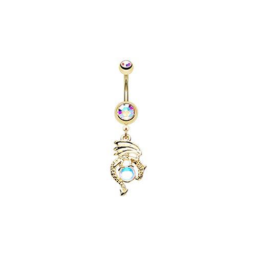 Pierced Owl Aurora Borealis CZ Crystal Ball Dragon Dangle Belly Button Navel Ring (Gold -