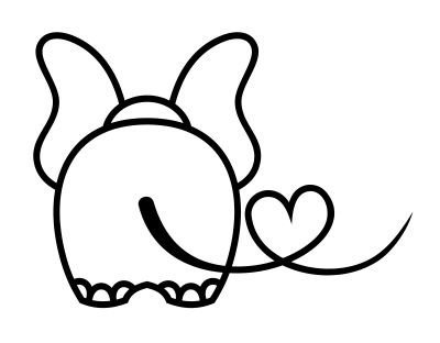Elephant Tail with Heart Vinyl Decal Sticker (Black) -