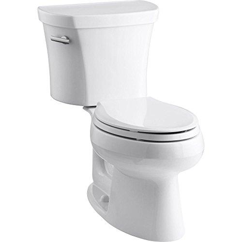 Kohler K-3948-0 Wellworth Elongated 1.28 gpf Toilet, 14-inch Rough-In, White