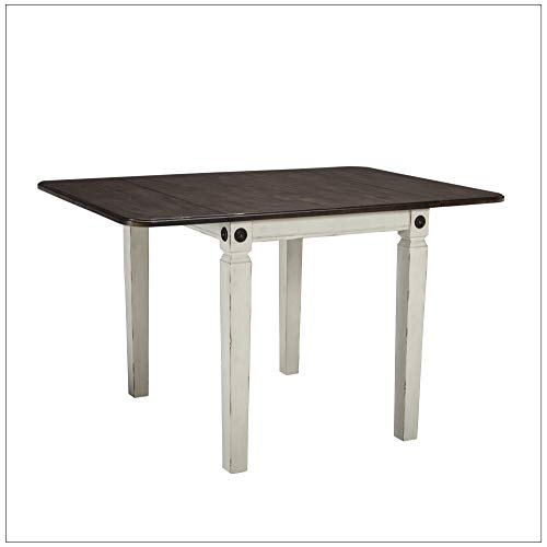 Intercon GW-TA-3650D-RWC-C Glenwood Drop Leaf Table Rubbed White Charcoal