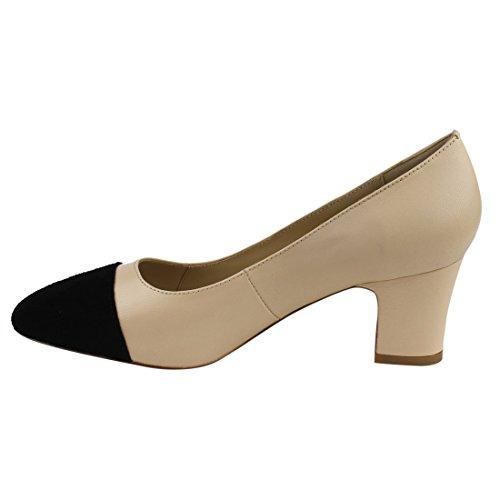 4eb495f3c423 lovely LANINI JA02 Women s Genuine Leather Two Tone Block Heel Work Shoes  Dress Pumps