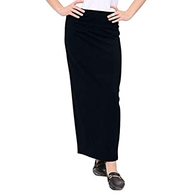 Kosher Casual Women's Modest Cotton Stretch Long Maxi Pencil Skirt at Women's Clothing store