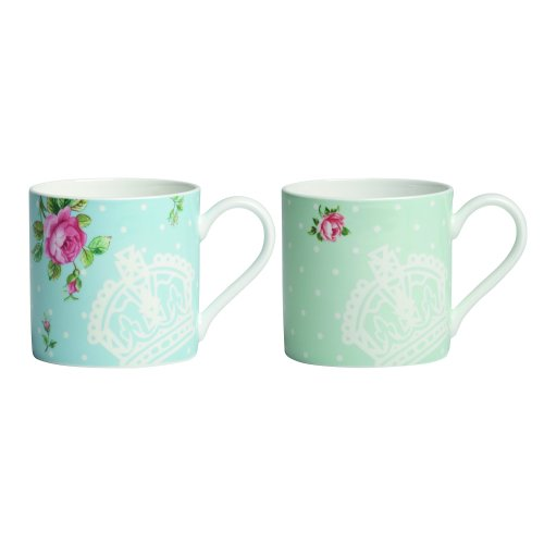 Royal Albert Polka Blue and Polka Rose Mugs, White, Set of 2 (China Royal Bone Albert Mug)