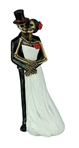 DWK 8 Till Death Day of the Dead Dia de los Muertos Skeleton Couple Decorative Figurine Bride and Groom Mini Statue Wedding Cake Topper