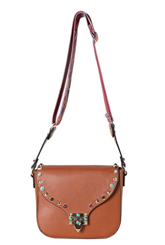 Diophy PU Leather Front Studded & Bead Décor Womens Purse Cross Body Handbag Accented with Colorful Geometric Woven Strap (Bead Accented Handbag)