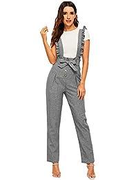 MAKEMECHIC - Pantalones con Botones para Mujer, Cintura Alta, Pierna Recta, Tirantes