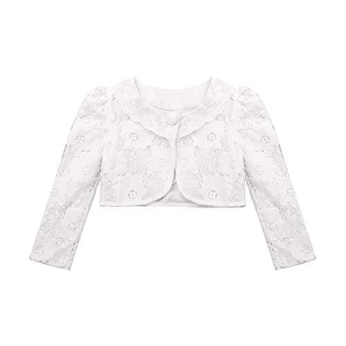 CHICTRY Little Girls' Long Sleeve Beaded Lace Bolero Cardigan Flower Girl Shrug Dress Cover Up White(Lace Crochet) 9-10 ()