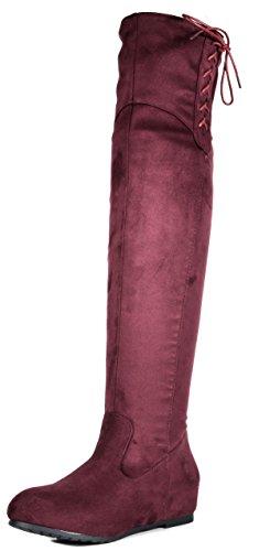 - DREAM PAIRS Women's Drew Burgundy Hidden Wedges Heel Over The Knee Boots Size 10 M US