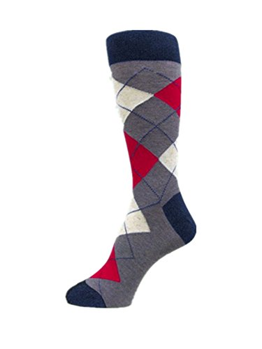 PolyMedea Men's Groomsmen Wedding Dress Argyle Socks,Bluish Gray/Red/Champagne Marble