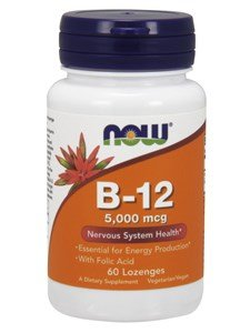 B-12, 5000mcg w/FOLIC, 60 Tabs by Now Foods (Pack of 3)
