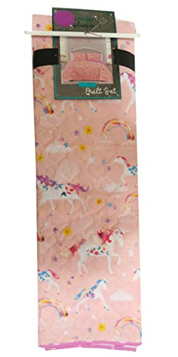 Wonder Studio Unicorns with Blue and Pink Manes Quilt Set On Pink Fabric (Twin) from Wonder Studio