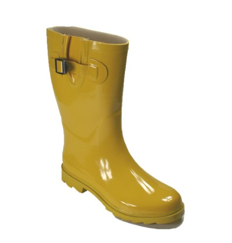 New Women's Flat Wellies Rubber Rain Boots (10, Yellow) (Yellow Wellies)
