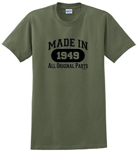 (70th Birthday Party Supplies 70th Birthday Gift Made 1949 All Original Parts T-Shirt Medium Military Green)