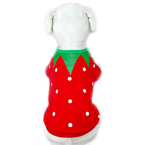 BUTTER-DOGWEAR 100% Cotton Pet Clothes for Dog Cat Puppy Coat Spring & Summer Strawberry Suit T-Shirts, Red LL007 ()