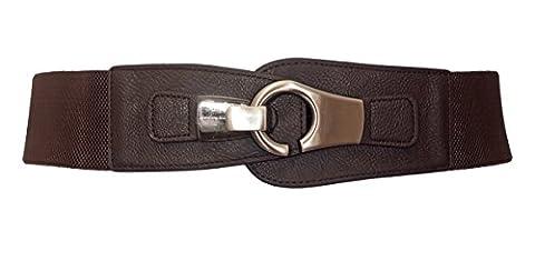 eVogues Plus size Brushed Silver Eyelet Locking Elastic Fashion Belt Brown - One Size Plus - Eyelet Belt