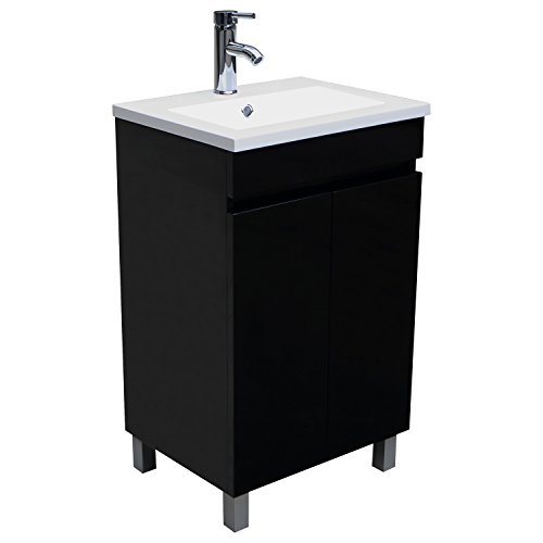Ordinaire Sliverylake 20 Inch Wide Standing Bathroom Vanity Cabinet With Undermount  Resin Sink And Chrome Faucet And 2 Doors Black